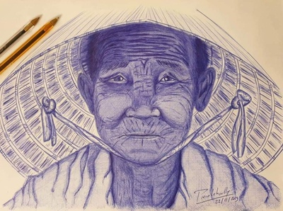 Old Asian lady pen blue ballpoint pen ballpoint lady asian