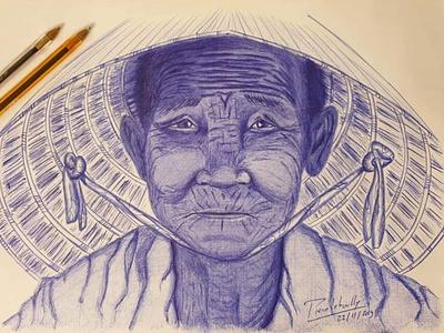 Old Asian lady pen blue ballpoint pen ballpoint lady asian