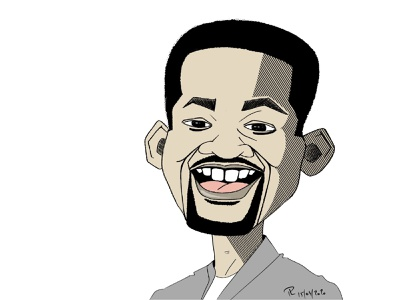 Will Smith's caricature cartoon smile will smith toon cartoons illustration pen drawing digital art digital caricature cartoon