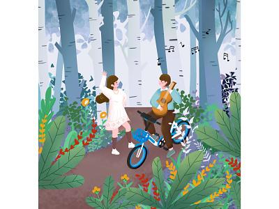 约会 弹唱 跳舞 女孩 单车 音乐 森林 吉他 约会