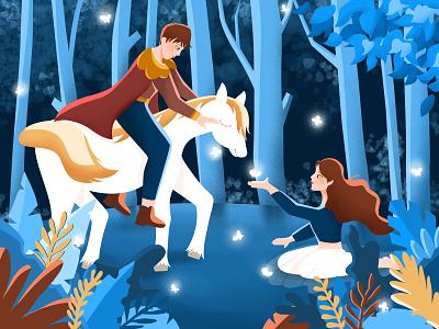 丛林约会 梦幻 夜晚 白马 公主 王子 森林