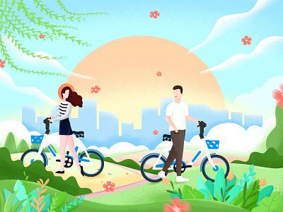 春季出游 春暖花开 女生 男生 柳树 单车 骑行 春天
