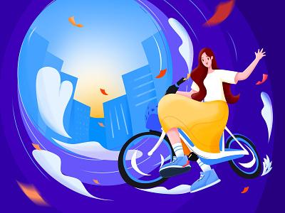 骑行画面 礼券 城市 黄色长裙