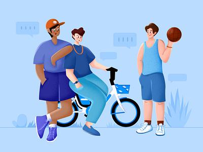 休闲一角 交谈 单车 篮球 男生