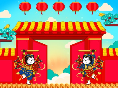 年会 中国风 戏剧 灯笼 开门大吉