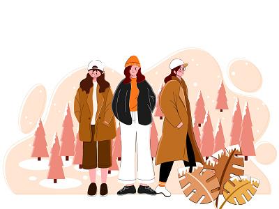 冬季 帽子 穿搭 雪松 大衣 女孩 下雪 冬天
