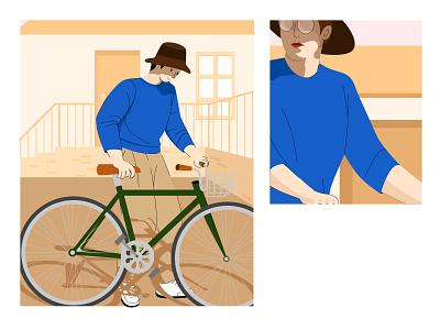 单车男孩 房屋 细节 帽子 男生 单车