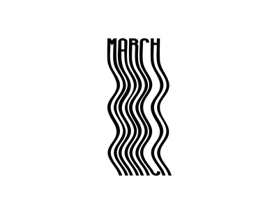 March- typography typography blackandwhite vector illustration