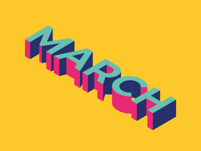 Typography- March (bright) march bright colors typography vector illustration illustrator