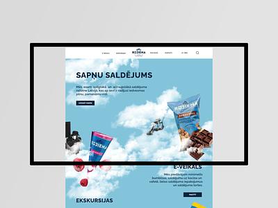 My design for Rūjienas saldējums colorful clouds adobexd latvia collage art icecream website design uiux
