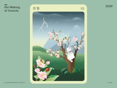 The Waking of Insects (3rd solar term) term insect spring solar flower festival vector illustration illustrator vectorart character art design illustration