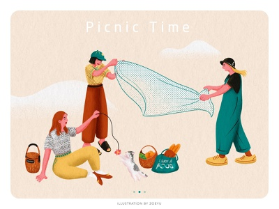 Illustration series of Picnic:Picnic Time girl picnic holiday flat vector character design vector illustration vectorart illustrator character art design illustration