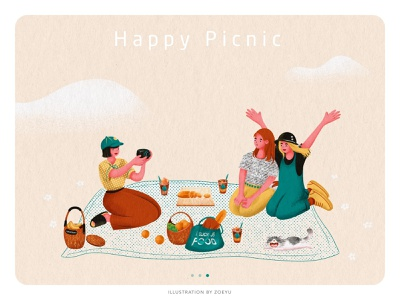 Illustration series of Picnic:Happy Picnic flat picnic holiday vector character design vector illustration vectorart illustrator character art design illustration