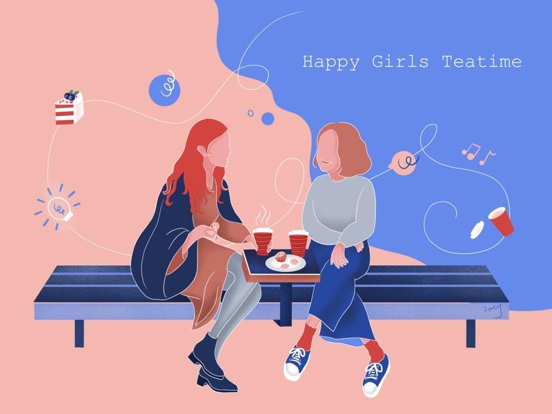 Happy teatime coffe girl design illustration