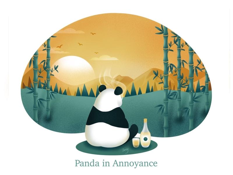 Panda in Annoyance. green panda illustration
