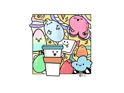 Random smiley fun art cute color icon vector illustration