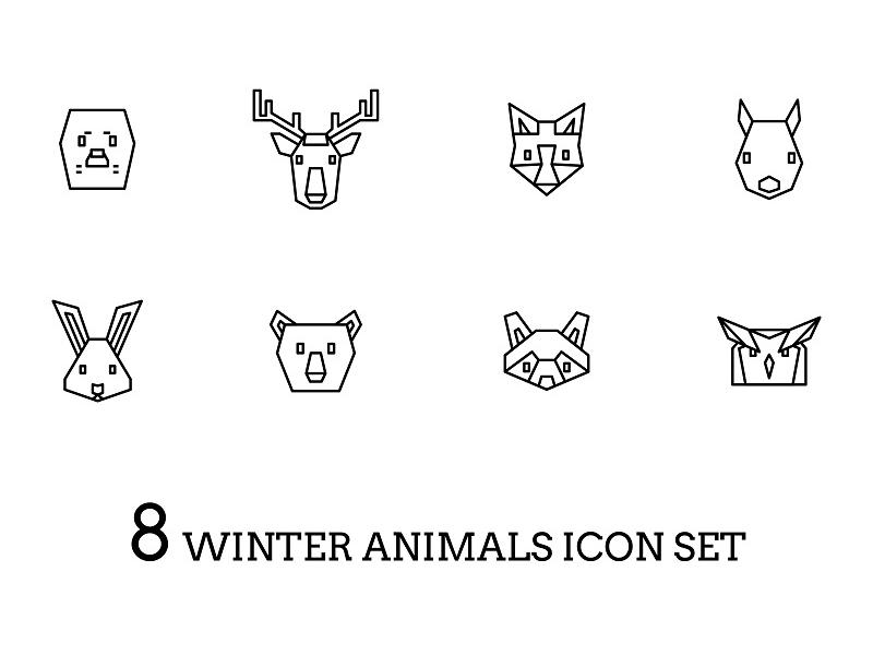 8 Winter Animals Icon Set winter vector simple set owl raccoon polar bear rabbit squirrel fox deer harp seal design cute children icons animals