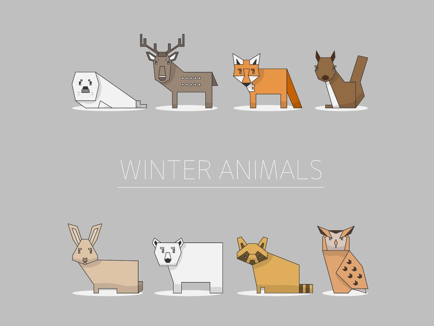 Winter Animals icons design illustration vector animals cute animals winter harp seal deer fox squirrel rabbit polarbear raccoon owl cute set simple children bear