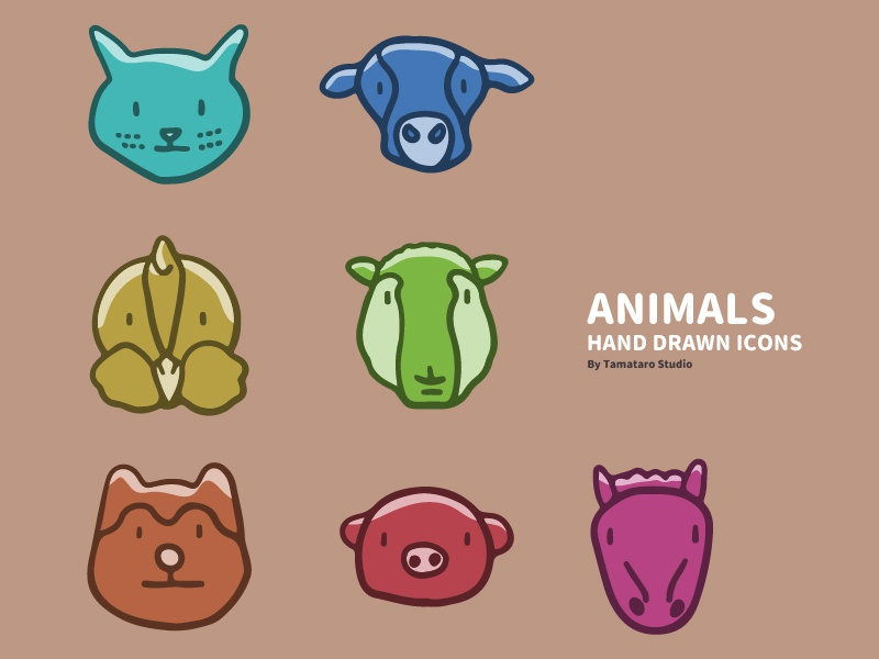 Animals : Hand-drawn Icons vector children cute horse pig dog sheep chicken cow cat colorful handdrawn illustration design icons animals