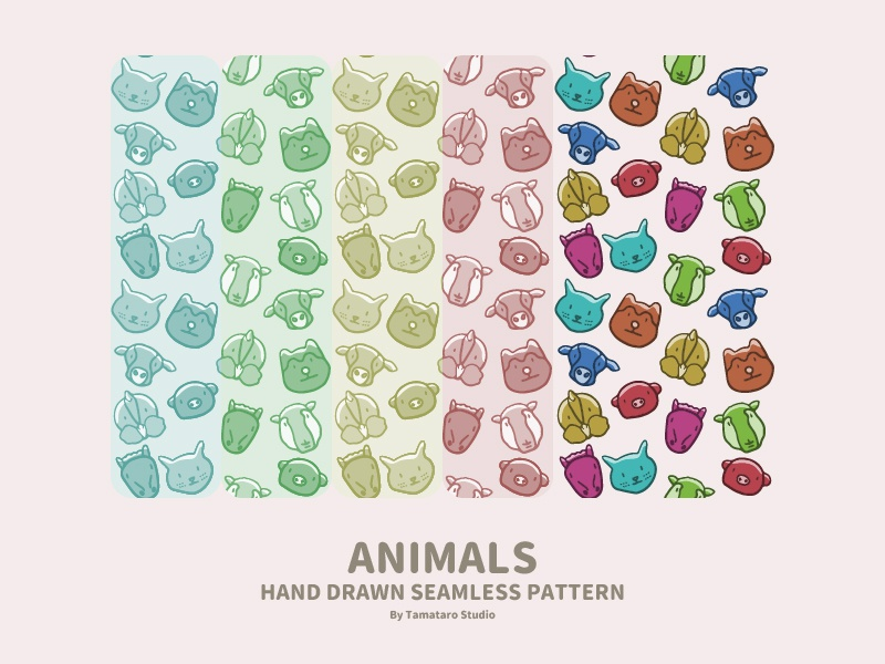 Hand-drawn Seamless Pattern : Animals icons horse pig dog sheep chicken cow cat animals illustration vector children cute colorful handdrawn design wallpaper background seamless pattern