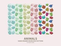 Hand-drawn Seamless Pattern : Animals