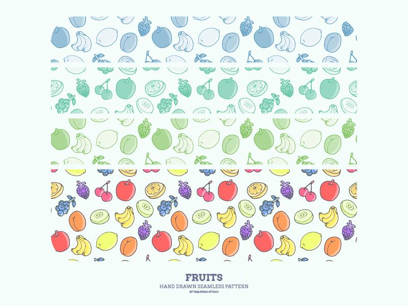 Hand-drawn Seamless Pattern : Fruits lemon kiwifruit grapefruit cherry grapes berries blueberry blackberry banana apricot apple fruit fruits illustration handdrawn pattern design wallpaper background seamless patterns