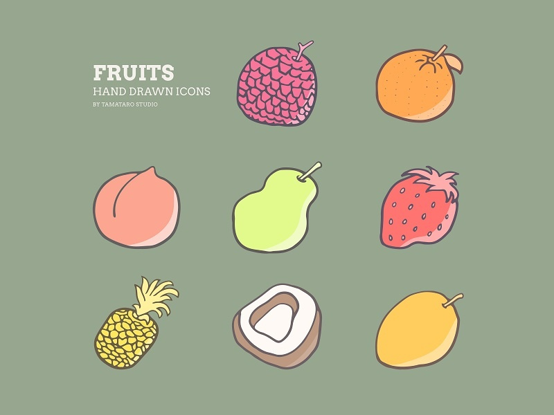 Fruits 02 : Hand-drawn Icons illustration handdrawn hand drawn vector fruit fruits icon design colorful mango coconut pineapple strawberry pear peach orange litchi lychee