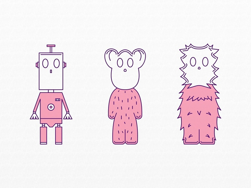 Icons (Toys?) children color purple pink 2d illustration vector design icon icons monster monsters toy toys
