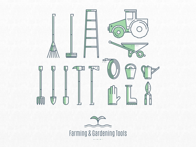 Farming and Gardening Tools object objects icons set tools gardening farming illustration color 2d blue green design vector icon icons