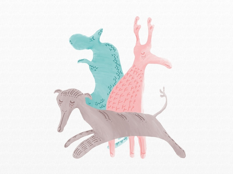 The pattern turned into another form color digital brown pink blue 2d green children animals illustration