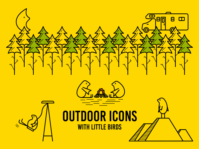 Outdoor Icons (in progress) outdoor campfire tree camper swing camp moon rv animal birds bird forest mountain green yellow color animals icons vector illustration