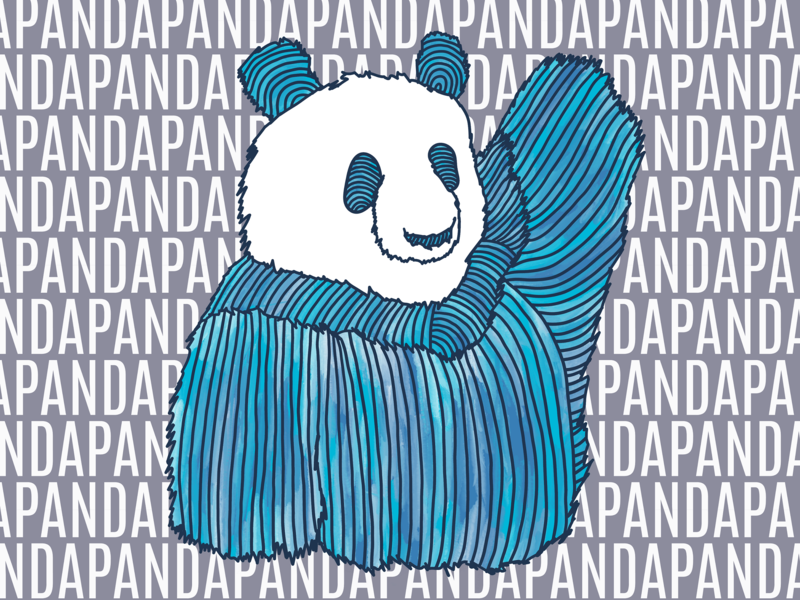 Panda 1 in Blue watercolor typography kids panda funny cute popart linedrawing drawing animal blue color animals design illustration