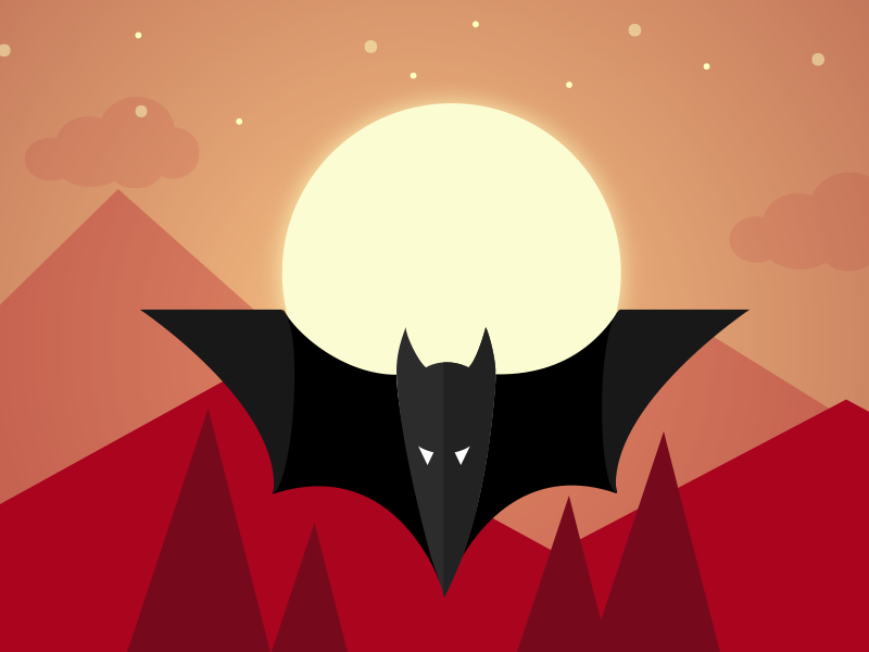 Webats Logo webats logo flat animal bat blog night landscape webdesign