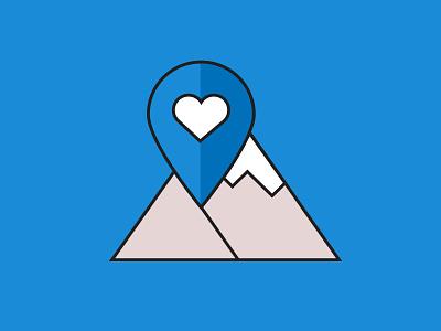 Discover Carinthia Logo logo flat carinthia blue mountains heart pin location