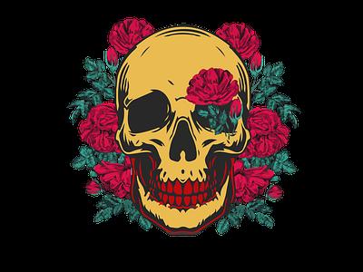 SKULL WITH RED CARNATIONS logo vector design illustration simple modern branding skull and crossbones skull logo skull art red skulls skull