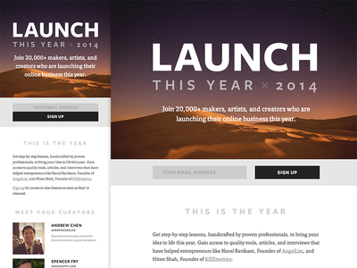 Launch This Year x 2014 launch this year landing page side-project minimal medium parallax responsive typography