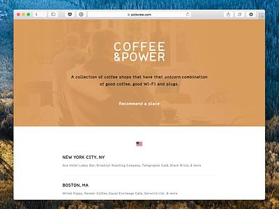 Coffee & Power coffee side project crew wifi list foursquare