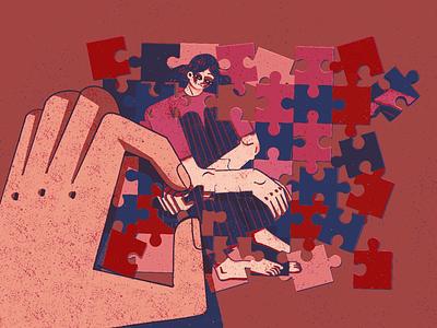 Puzzle illustration sketch