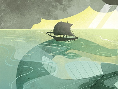 In the Belly of the Beast illustration ship ocean storm