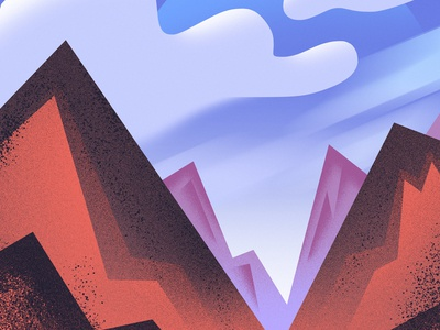 Red Mountains cute art clouds sky mountain landscape illustration