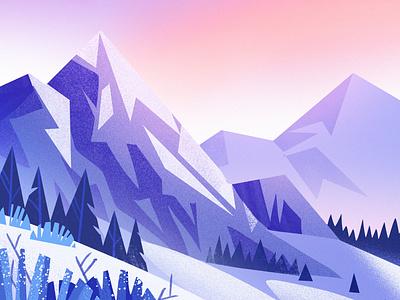 Frost trees mountain snow landscape cute art illustration