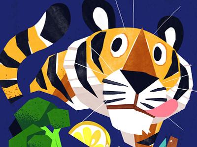 A Hungry Tiger kidlitart broccoli food animal cat tiger cute art illustration