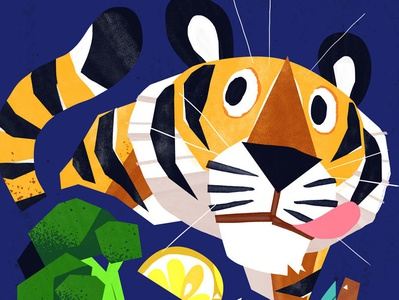 A Hungry Tiger kidlitart broccoli food animal cat tiger cute art illustration