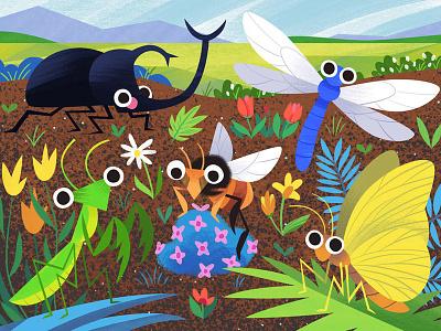 Bug Garden landscape flowers insect dragonfly bee beetle butterfly bugs kidlitart cute art illustration