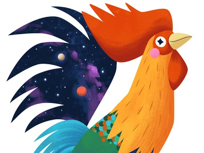 Roosterverse kidlitart bird rooster cute art illustration