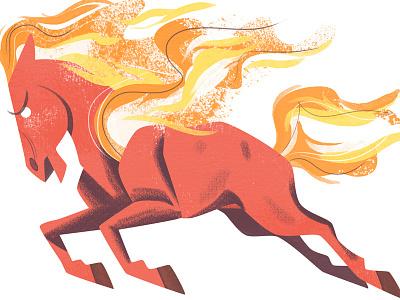 Fire Horse animal fire kitlitart horse cute art illustration