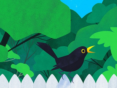 Blackbird animal animals green artwork photoshop kidlitart bird cute art illustration blackbird