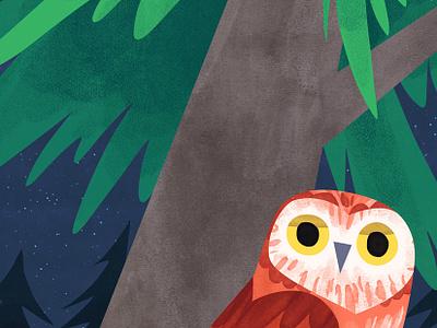 Owlie photoshop blue night green tree animal bird kidlitart art cute forest illustration owl