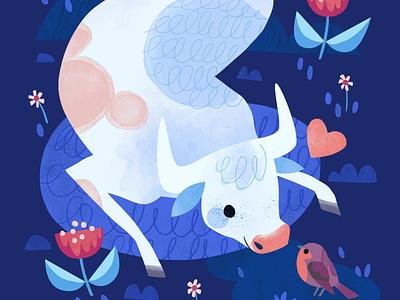 Lovely kidlit art kidlit adorable flowers photoshop illustration cute flower birb bird robin bull cow