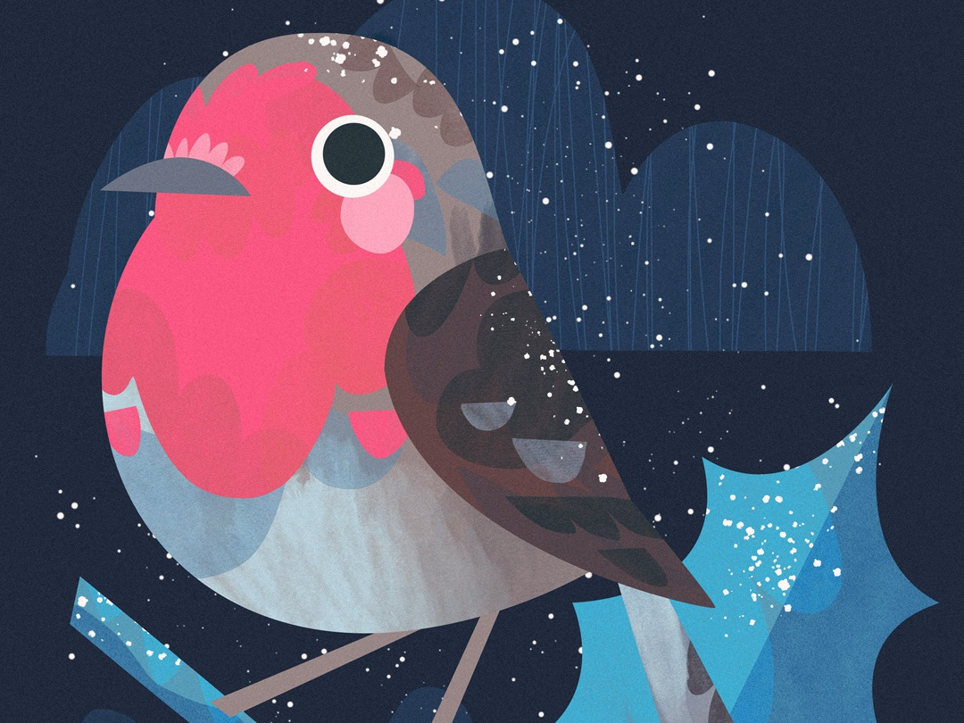 Winter Robin photoshop birds animals animal christmas festive winter holly artwork art illustration cute birb bird robin